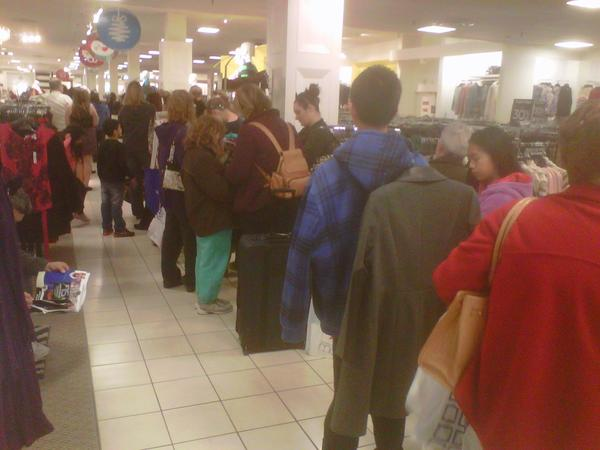 Patient bargain-hunters waited in a long line at J.C. Penney in White Marsh on Black Friday morning.