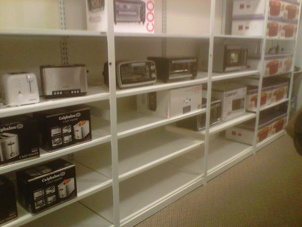 These shelves previously held appliances on sale for $8 at J.C. Penney in White Marsh.