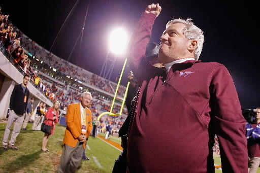 Frank Beamer exults after Hokies' 2011 victory at Virginia