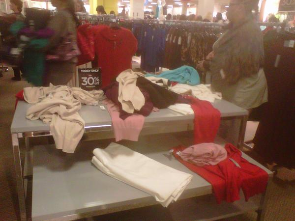 A jumbled display of clothes at the J.C. Penney at White Marsh.