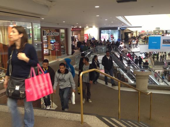 Shoppers take advantage of Black Friday deals at the Glednale Galleria early Friday morning, Nov. 26, 2012.