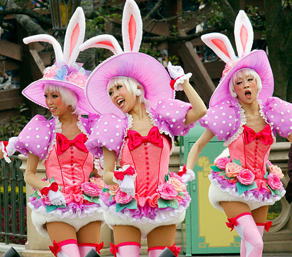 "Performers dressed as bunnies in the ""Easter Wonderland"" parade at Tokyo Disneyland, which reopened for the first time since Japan's devastating earthquake and tsunami."