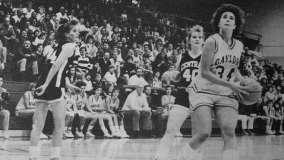 Kelly Krajniak (34) scored 23 points in a losing effort during the opening game of the regional tournament on Nov. 19, 1990. The Blue Devils fought but fell 60-58 to Standish Sterling.