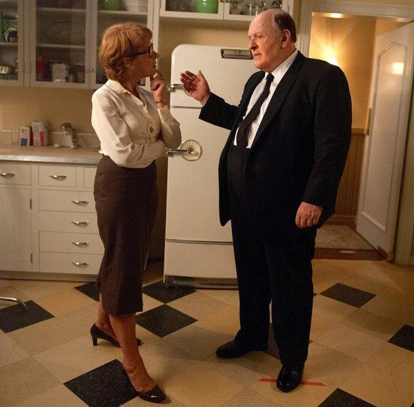Helen Mirren as Alma Hitchcock and Anthony Hopkins as Alfred, on the set for a home kitchen with vintage refrigerator and Marmoleum flooring from Linoleum City in L.A.