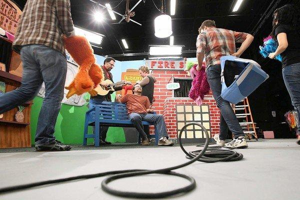 "Puppeteers and actors film ""Learning Town"" at the new You Tube facilities in Playa Vista."