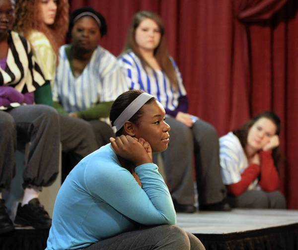 """Young women incarcerated at the Illinois Youth Center Warrenville perform an original musical, """"Finding Asia."""" The group, Fabulous Females, is under the tutelage of Storycatchers Theatre and the Chicago Symphony Orchestra."""