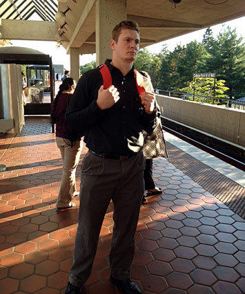 Maryland tight end Ryan Schlothauer waits for the Metro.