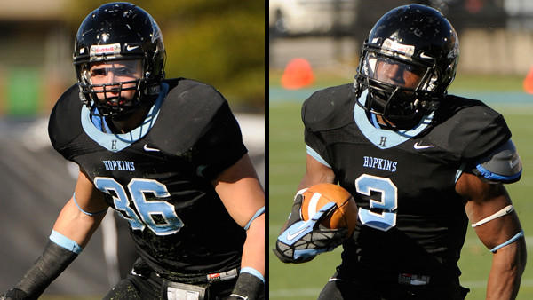 Senior captains Adam Schweyer, left, and Jonathan Rigaud lead No. 15 Johns Hopkins against No. 1 Mount Union for the first time in Saturday's second round of the Division III football playoffs.