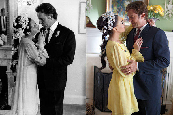 Left, Elizabeth Taylor and Richard Burton at their first wedding in 1964. Right, Lindsay Lohan and Grant Bowler re-create the moment