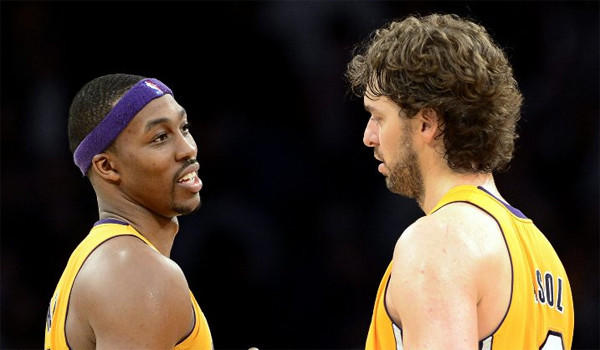 Dwight Howard and Pau Gasol celebrate their win against the Nets on Tuesday.