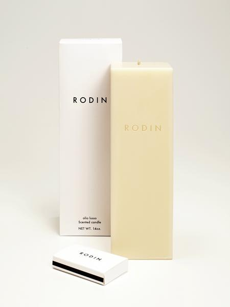"Rodin Olio Lusso jasmine and neroli-scented pillar candle with matches, $125 at <a href=""http://www.oliolusso.com"">oliolusso.com</a> or Barneys New York in Beverly Hills."