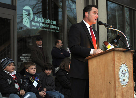 Bethlehem Mayor John Callahan, speaks at Bethlehem's annual Christmas Tree lighting in Payrow Plaza on Friday.  This celebrates Bethlehem's 75th anniversary as the Christmas City.