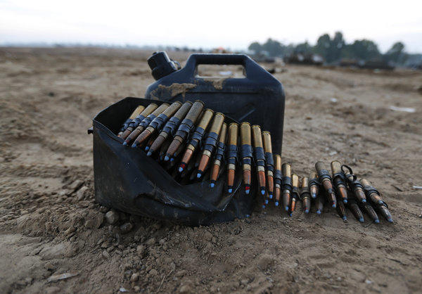 Ammunition of an Israeli army tank is seen at a staging area near the Israel-Gaza Strip Border in southern Israel.