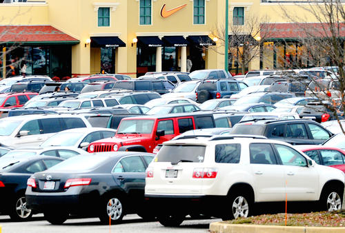 The parking at The Premium Outlets in Hagerstown Friday was hard to find.