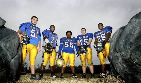 Left to Right: Collin Todd, Kahvorkian Walton, Jaquan Spratley, J. Burke and Demetric Lewis will head up the offensive line for Smithfield as they play for a regional title.