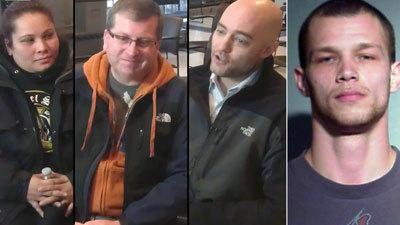 Three people who helped catch a man who beat and robbed a woman near Michigan Avenue this morning (from left) Angela Deleon, Kris Frieden and Mike Hochhauser. Richard D. Mendoza, right, has been charged.