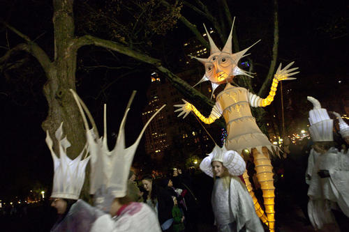 The Anne Cubberly creation known as The Night Fall Solstice Puppet greeted crowds gathered at the Winterfest Hartford.