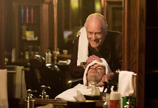 "A scene from TNT's ""Dallas."" Larry Hagman gives Josh Henderson a close shave."