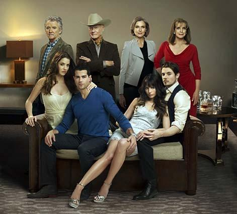 "The cast of the TNT show ""Dallas, clockwise from middle left: Julie Gonzalo, Patrick Duffy, Larry Hagman, Brenda Strong, Linda Gray, Josh Henderson, Jordana Brewster and Jesse Metcalfe."