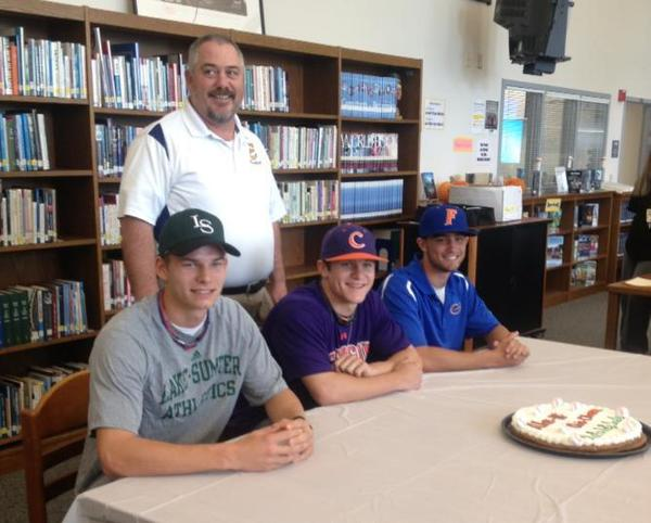 Austin Simmons, Chris Okey and Alex Hagner from Eustis' baseball team signed with Lake Sumter, Clemson and the University of Florida, respectively.