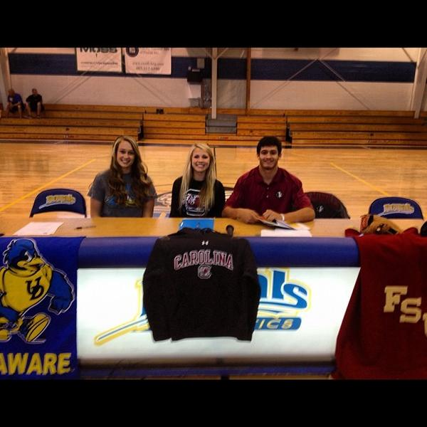 Jordan Wilson signed to play volleyball with South Carolina. Kali Funk signed to play volleyball with Delaware. Ben Deluzio signed to play baseball with Florida State University. All three are from The First Academy.