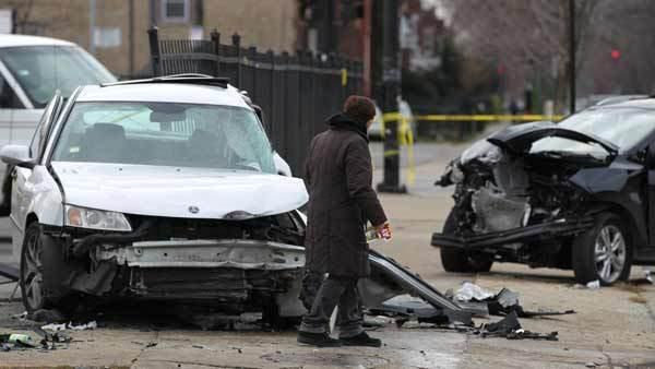 A man was killed and another was seriously injured in a two-vehicle crash early this morning in the city's Humboldt Park neighborhood.