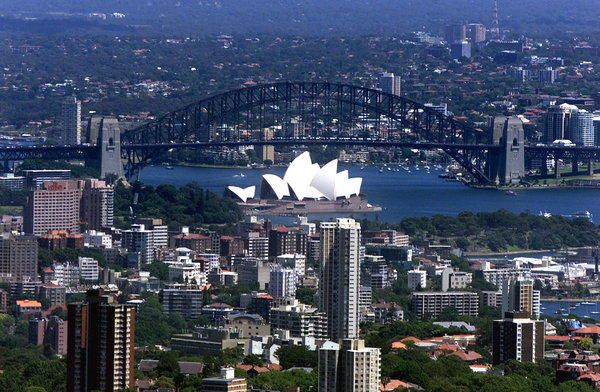 An aerial view of Sydney, Australia