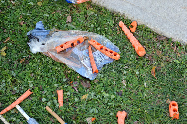 Holes in carrots lay in the grass after used for a carrot cannons at the The Da Vinci Science Center's Thanksgiving 2012: Play With Your Food Returns, it features science activities that start with food including extracting the DNA of peas, a tablecloth yank challenge, and a carrot cannon on Saturday.
