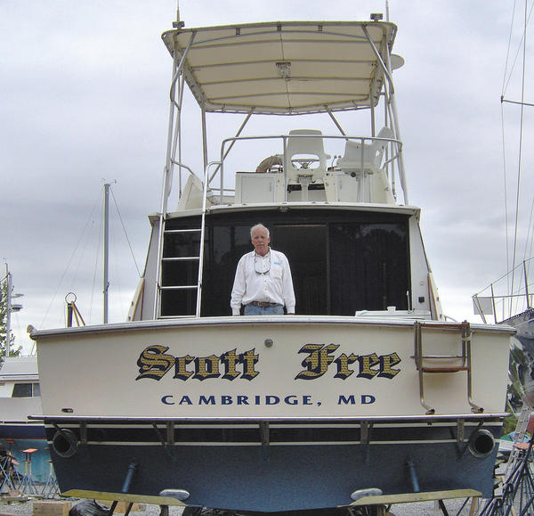"Jan ""Scott"" Frey grew up on the Eastern Shore and loved the lifestyle. He is shown with the family's boat in this May 2010 photo."