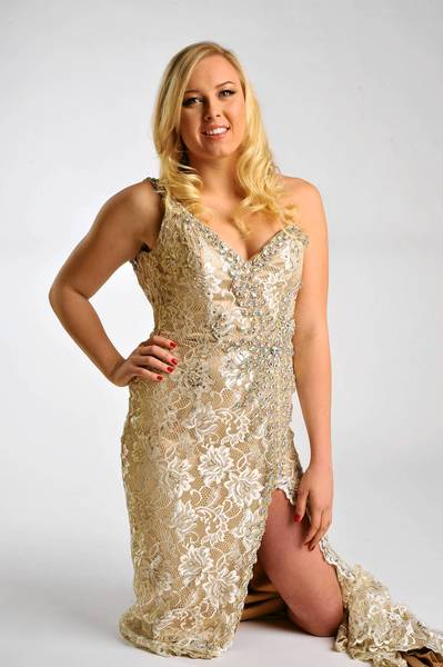 Jessica Long models a Terani Couture gown, $790, from Octavia and Kate Spade earrings, $98, from Handbags in the City.