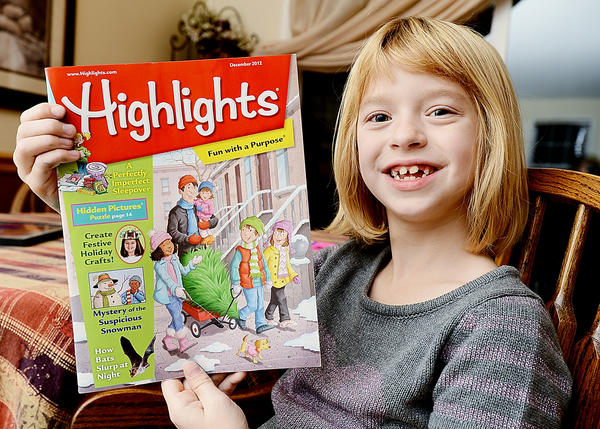 Anna Steig, 7, of Hagerstown has a piece of artwork in the December issue of Highlights magazine.