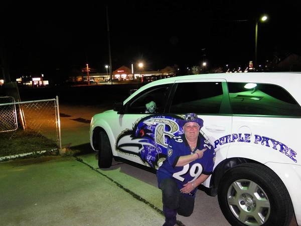 "Ravens fan Vanessa ""Purple"" Payne."