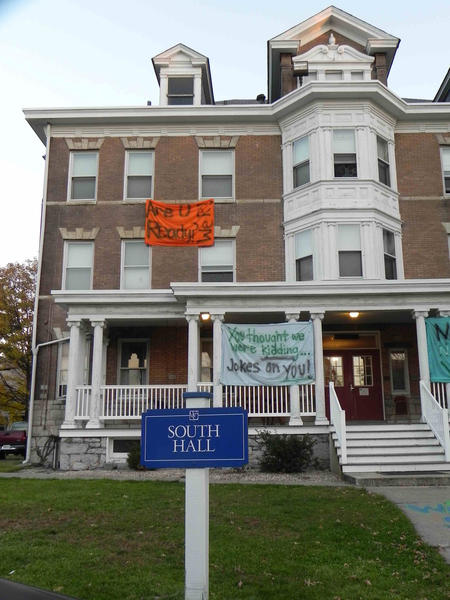 Protest signs at South Hall Dormitory at Wilson College.