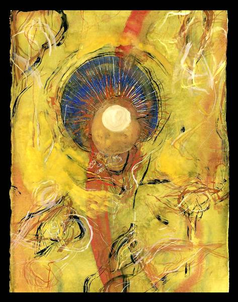 A warm and lively painting, with yellow and orange emanating from a mysterious blue core. Although it is abstract, this energetic work references cellular structures and cosmic energy. $200, unframed, 15 by 11 inches. Works available at Fleckenstein Gallery, 3316 Keswick Road, Hampden. 410-366-3669 or fleckensteingallery.com