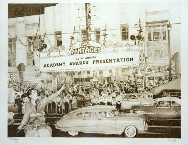 "Artist Iva Hladis modeled her drawing of the Pantages on a March 1954 newspaper photo. The drawing is among works on exhibit through Dec. 5 in ""Timeless Treasures"" at District Gallery in downtown Los Angeles."