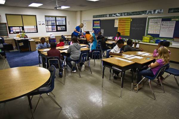 Cindy De Rouen's third-grade class at Jenkins Elementary School in Newport News has 19 students this year. Enrollment at Jenkins, and across the district, is declining, and demographers expect the trend to continue.