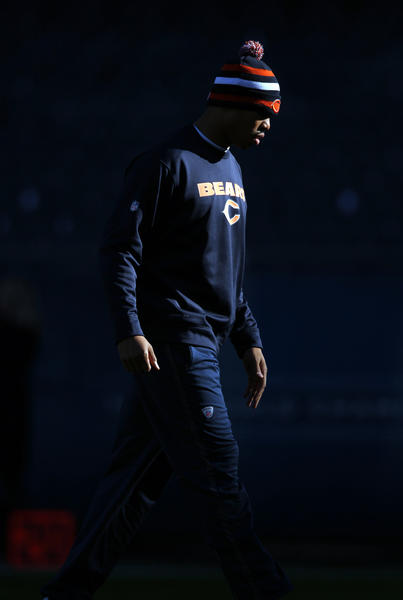 Chicago Bears' backup quarterback Jason campbell walks on the field before Bears play Minnesota Vikings in NFL game at Soldier Field in Chicago on Sunday.