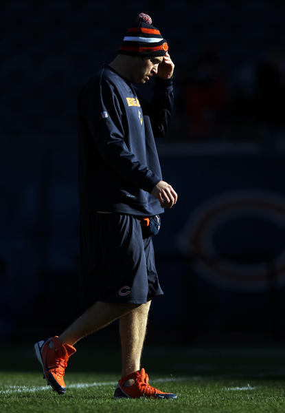 Chicago Bears' Jay Cutler walks on the field before playing Minnesota Vikings in NFL game at Soldier Field in Chicago on Sunday.