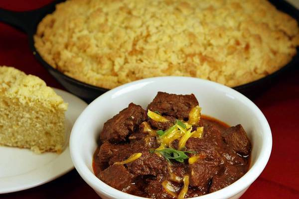 Smitty's steak chili and iron skillet corn bread.