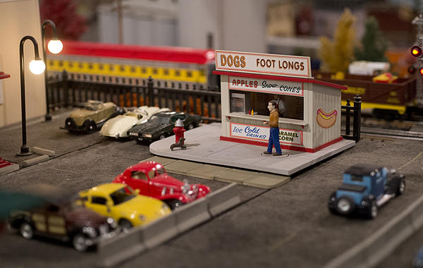 An animated hot dog stand is featured in the Nazareth Area Society of Model Engineers Holiday Train Show in Stockertown on Sunday.