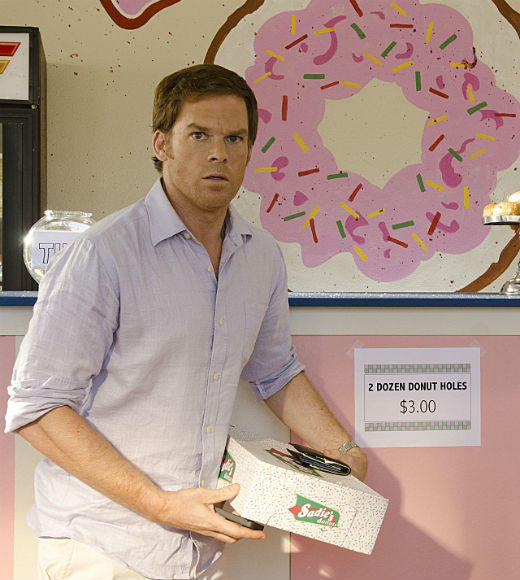 'Dexter' Season 7: Best & worst: Isaak tries to put a hole in Dexter at his favorite donut shop.