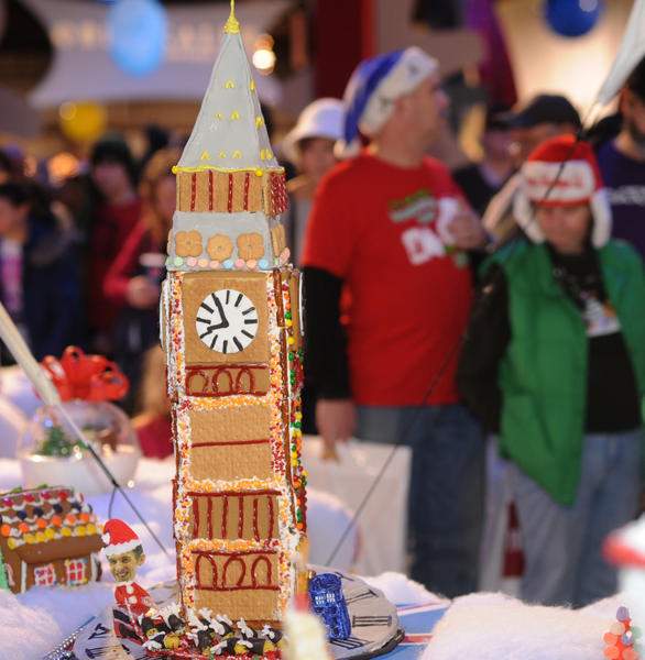 This gingerbread clock tower was designed by Patapsco High School and Center for the Arts, National Art Honor Society.