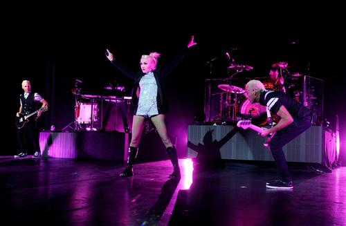 Musician Tom Dumont, singer Gwen Stefani, musician Tony Kanal and Adrian Young of No Doubt perform.