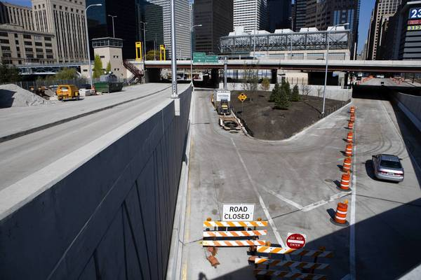Lower Wacker Drive and several of its intersections, including this one at Harrison Street, are expected to be reopen Friday.
