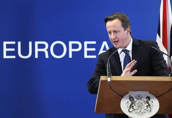 British Prime Minister David Cameron speaks during a news conference at a summit at European Union headquarters in Brussels last week.