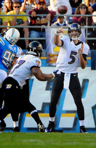 Joe Flacco throws to Ray Rice in the second quarter.