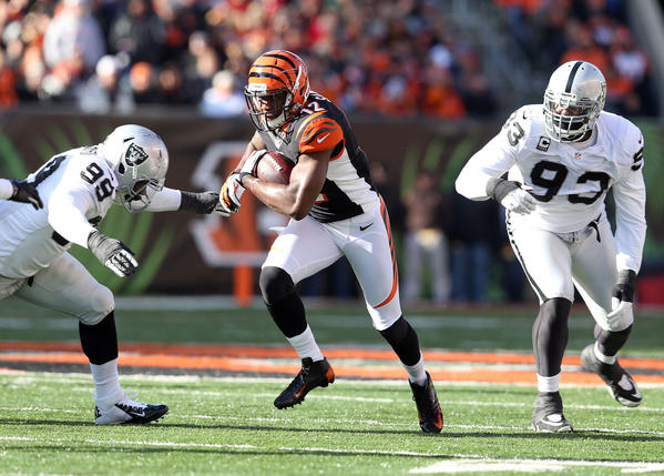 Mohamed Sanu #12 of the Cincinnati Bengals runs with the ball during the NFL game against the Oakland Raiders at Paul Brown Stadium on November 25, 2012 in Cincinnati, Ohio. Cincinnati won 34–10.
