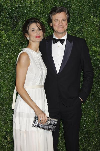 Colin Firth and Livia Firth arrive for the 58th London Evening Standard Theatre Awards in London.