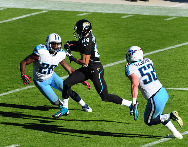 Cecil Shorts III #84 of the Jacksonville Jaguars runs with a catch for a touchdown against the Tennessee Titans at EverBank Field on November 25, 2012 in Jacksonville, Florida. Jacksonville won 24–19.