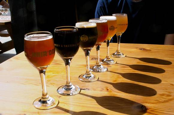 A flight for beer tasting at Hair of the Dog in Portland, Ore.